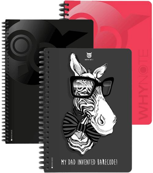 Cahier réutilisable intelligent WhyNote avec zèbre et hiboux en couleur