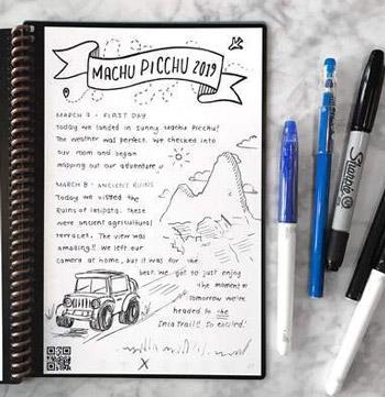 Cahier effaçable sur table e, marbre et stylos effaçables