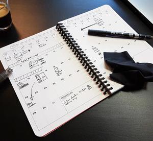 Cahier réutilisable Whynote sur table brune avec style et café