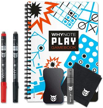 Cahier de jeu réutlisable WhyNote avec stylos efaççable, éponge et microfibre