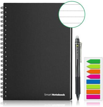 cahier réutilisable Homestec format A5 noir avec stylo et marque page