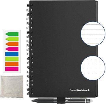 cahier réutilisable Homestec format A5 noir avecaccesoires