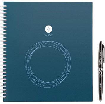 cahier réutilisable Rocketbook Wave format executive bleu avec stylo